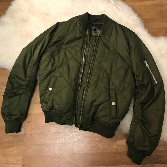 Topshop Jackets Coats Olive Green Quilted Bomber Jacket Poshmark